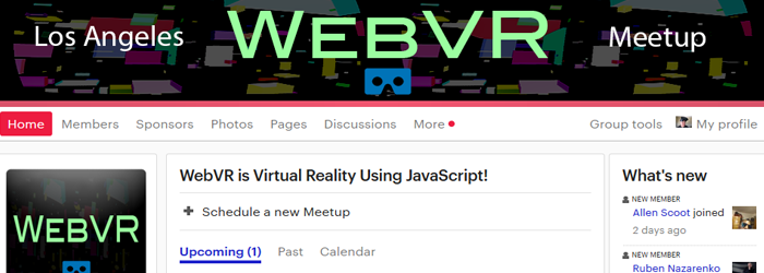 WebVR Meetup.com group Logo